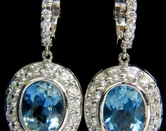 4.55ct Natural Aquamarine Diamond Earrings Dangle A+ VS / G