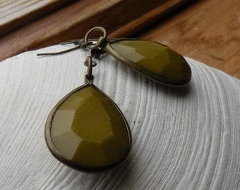 Antique brass green glass bevel earrings