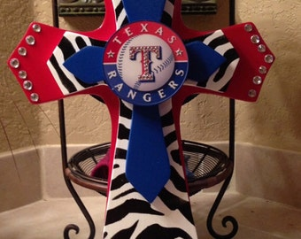 Texas Rangers Theme Wood Cross