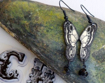 Butterfly Dangle Earrings Black and White