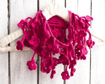 Fuchsia Floral Crochet Scarf, Egyptian Cotton, Natural Materials, Hippie Chic Accessories