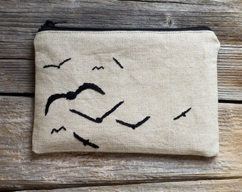 Hand embroidered Birds on Natural Linen and Cotton Zipper Pouch, Nature Inspired Cosmetic Bag, Countryside Accessories