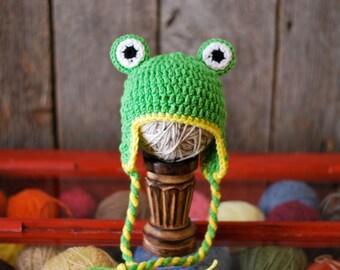 Froggy- Crochet Earflap Hat