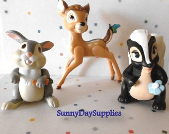 Vintage McDonald's Bambi Toys,  Happy Meal Toys, Bambi, Thumper and Flower, Bambi Characters, 3 toys in Lot, 1988 toys, CLEAN, Small toys