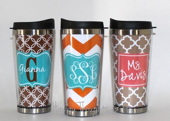 Coffee Tumbler Custom Monogrammed Coffee Tumbler