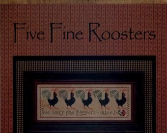 La-D-Da: Five Fine Roosters - Cross Stitch Pattern
