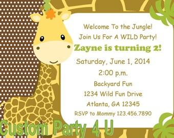 Adorable Giraffe Invitation