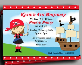 Girl's Pirate Invitation Printable or Printed with FREE SHIPPING - You Pick Hair Color/ Skin Tone - Pirate Birthday Collection