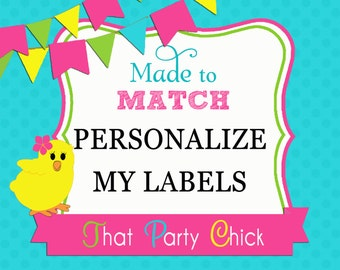 Add On to Instant Download Tags or Cupcake Toppers - Personalize My Images