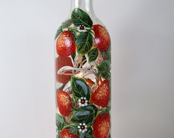 Hand Painted Wine Bottle Light With Strawberries, Green and Red, Accent Light, Hostess Gift