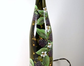 Hand Painted Wine Bottle Light With Black Berries, Accent Light, Painted Fruit, Raspberry Decor, Kitchen Accent Light