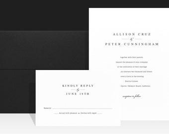 Minimal Black White Wedding Invitations - Modern Elegant Wedding Invitation - Wedding Invites - Allison