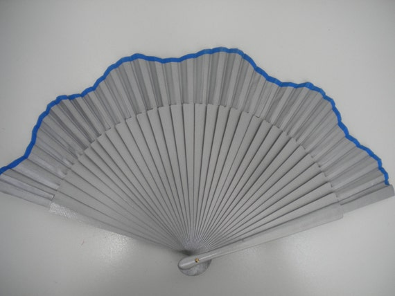 Silver with Electric Blue Hand Fan