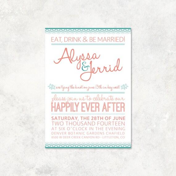 Beach Destination Wedding Invitation DIY By MadhouseMarket
