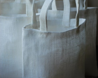 Linen favor /gift/candy bags. Set of 10. Size 5 1/2 inch  x 5 inch. Natural / off white.