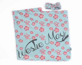 Personalized Floral Blanket and Top Knot Headband - Blue with Coral and Light Pink Flowers -  Organic Baby Swaddle Eco Friendly