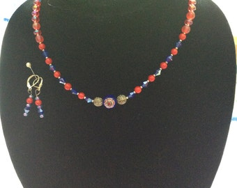 Red, Blue, and Silver Necklace and Earring Set