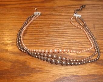 vintage necklace choker black ivory faux pearls triple strand