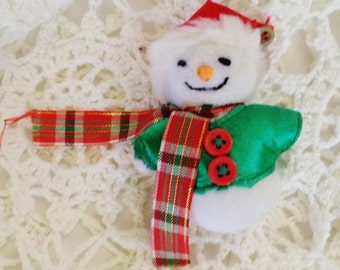 Vintage Brooch Hand Made Snowman Christmas Brooch in Colorful Clothes