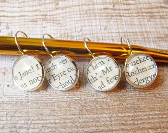 Jane Eyre Stitch Marker Set Knitting Crochet Removable Charlotte Bronte Mr Rochester Silver Markers Earrings Literature Romance Love