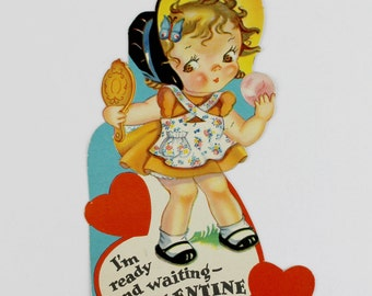 1940s Vintage Valentine's Day Card with Little Girl