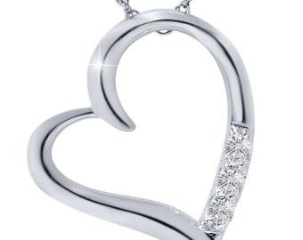 Diamond Heart Pendant 10K White Gold