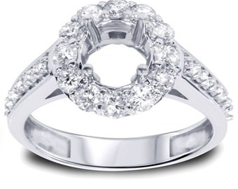 Diamond Halo Engagement Ring Setting 1.00Ct In 14K White Gold 26 Round Cut Diamonds, Diamond Halo Ring, Ring Setting, Diamond Ring, Wedding