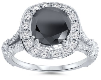 4.36CT Black & White Diamond Cushion Halo Vintage Engagement Ring 14K White Gold Size, Black Center Stone, Diamonds, For Her, Anniversary4-9