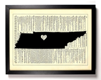 Tennessee State Map, Home, Kitchen, Nursery, Bath, Office Decor, Wedding Gift, Eco Friendly Book Art, Vintage Dictionary Print 8 x 10 in.