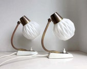 Pair of 1950s Table Lamps. White Origami Glass Shades. Dark Brass. White Bases. Mad Men Style. Midcentury Modern Lighting