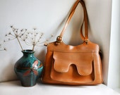 1970s Faux Leather Tan Orange Brown Handbag/ Shoulder Bag with Zip, Decorative Stitching