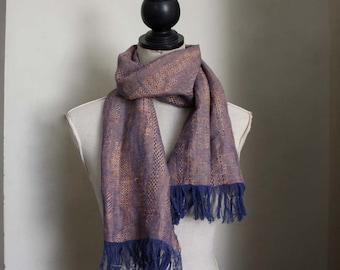 Sky and Rust. Light Summer Scarf. Woven Jacquard linen wrap. Blue Brown Purple. Eco Fashion. Small Run