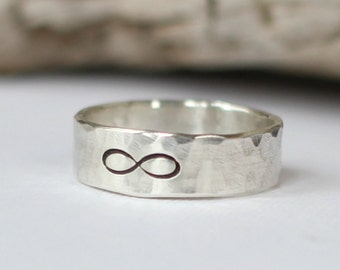 Mens Infinity Ring, Wedding Band, Promise Ring, Sterling Silver Infinity Ring for Men