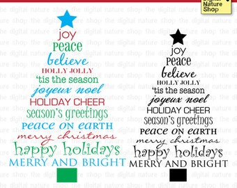 Christmas Tree Words - Digital Clip Art - Stamp and Brush - INSTANT DOWNLOAD - for Invites, Crafts, Collage, Cards, Scrap Booking