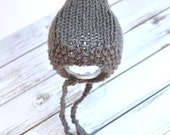 Chunky handknit gray pixie bonnet, newborn baby girl boy hat photography prop - made to order