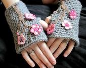 PATTERN CROCHET Charming Cherry Blossom Fingerless Mitts Toddler-Adult XL
