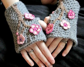 PATTERN CROCHET Charming Cherry Blossom Fingerless Mitts Toddler-Adult XL