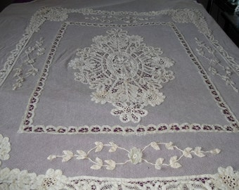 SALE 25% OFF Beautiful Antique French Handmade Cafe au Lait Cotton Applique Battenburg Princess Lace Bedspread/Drape/Panel