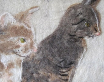 Pet Cat Portrait in Wool Felt Handmade Custom OOAK Chicago Artist