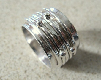 Fine Jewelry // Sterling Silver Dotted Spinner // Organic Wedding Ring //  Handmade Jewelry