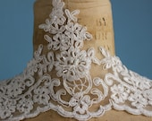 Ivory beaded lace with Embroidered net trimming,  - Bridal headpiece, veils...