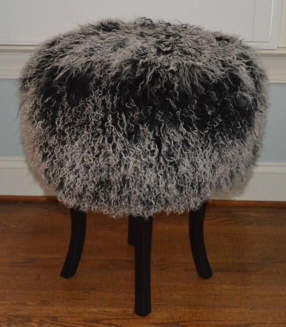 Items Similar To Mongolian Lamb Fur Stool 2 Tone Fur Real