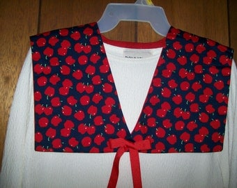 Vintage Cape Style Collar in Red and Black Apple Print with Solid Red Lining