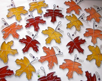 Stained Glass Suncatcher - Fall Orange Maple Leaf with wire and bead accent, Pick Your Color