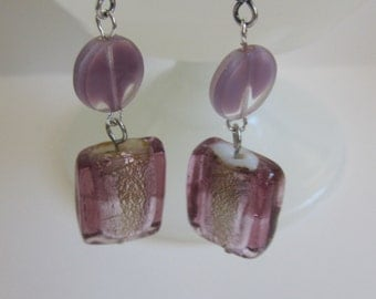 Purple Reflections Dangle Earrings
