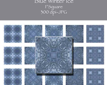 Blue Winter Ice 1 Inch Square Tile Images INSTANT DOWNLOAD