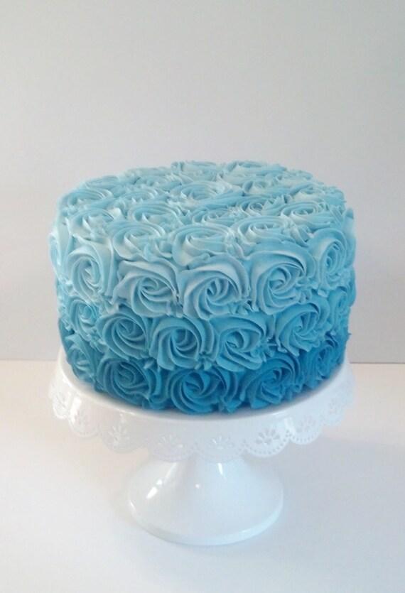 Aqua Blue Ombre Rosette Fake Cake Photo By FakeCupcakeCreations