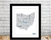 Ohio Typography Map 8x10 Print