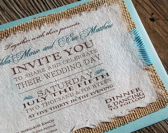 NEW- D-I-Y Modern Type Playbill Wedding Invitation With Turquoise Chevron Ribbon- Rustic Burlap Wedding Invitation