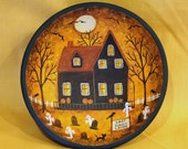 Halloween Art Hand Painted Vintage Folk Art Primitive Wood Bowl-Lost Souls Lodge, Ghosts, Full Moon, Bats, Pumpkins, Spooky Trees